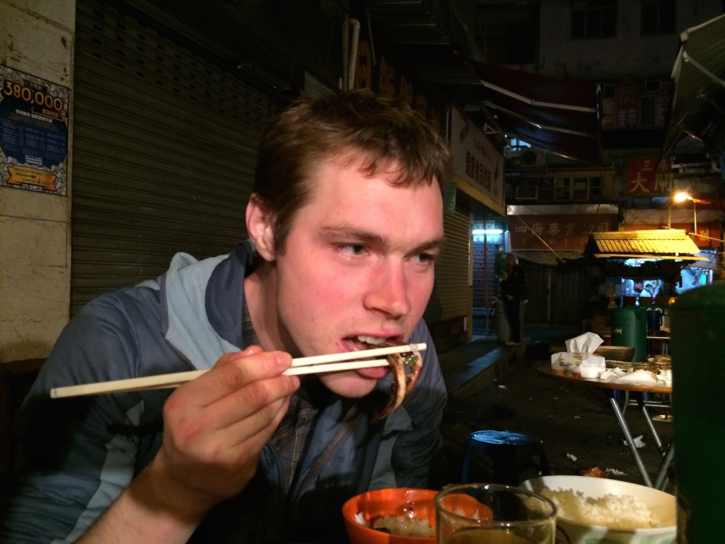 Tom Owens showing that not only can he run fast, but he can handle the toughest challenges with chopsticks