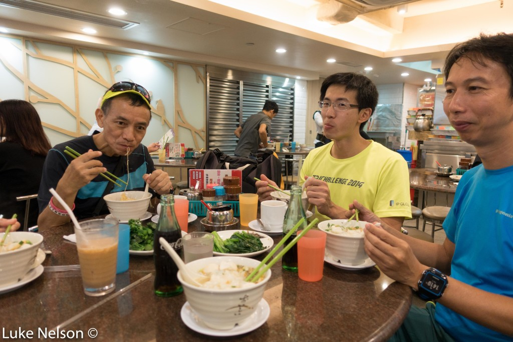 Fred To, Hans, and Jeff enjoy some fishball soup.