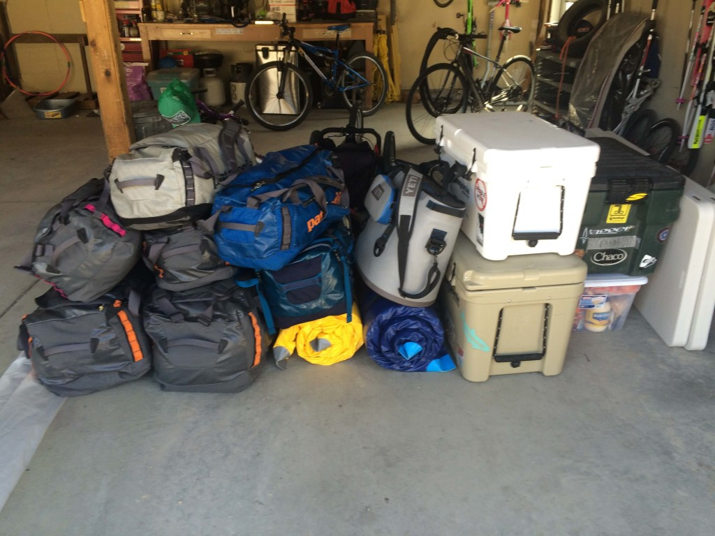 The pile of gear for 8 days camping in the desert with the family.