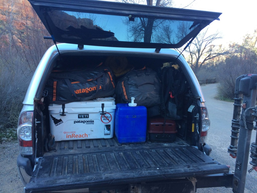 All that gear loaded in the adventure mobile.